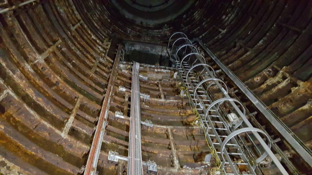 Disused lift shaft under Euston Station.
