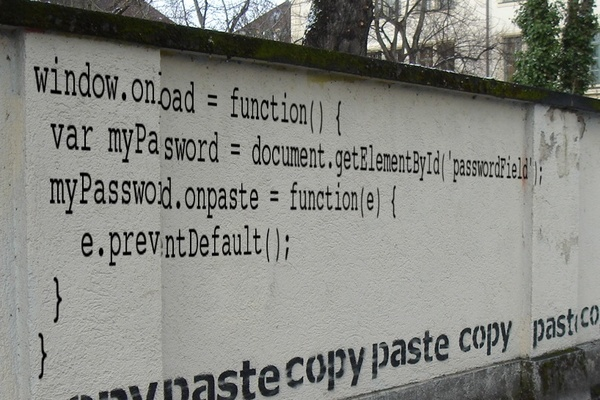 Anti-copy/paste Javascript code, on a wall.
