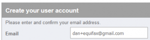 The email address dan+equifax@gmail.com being entered into a form.