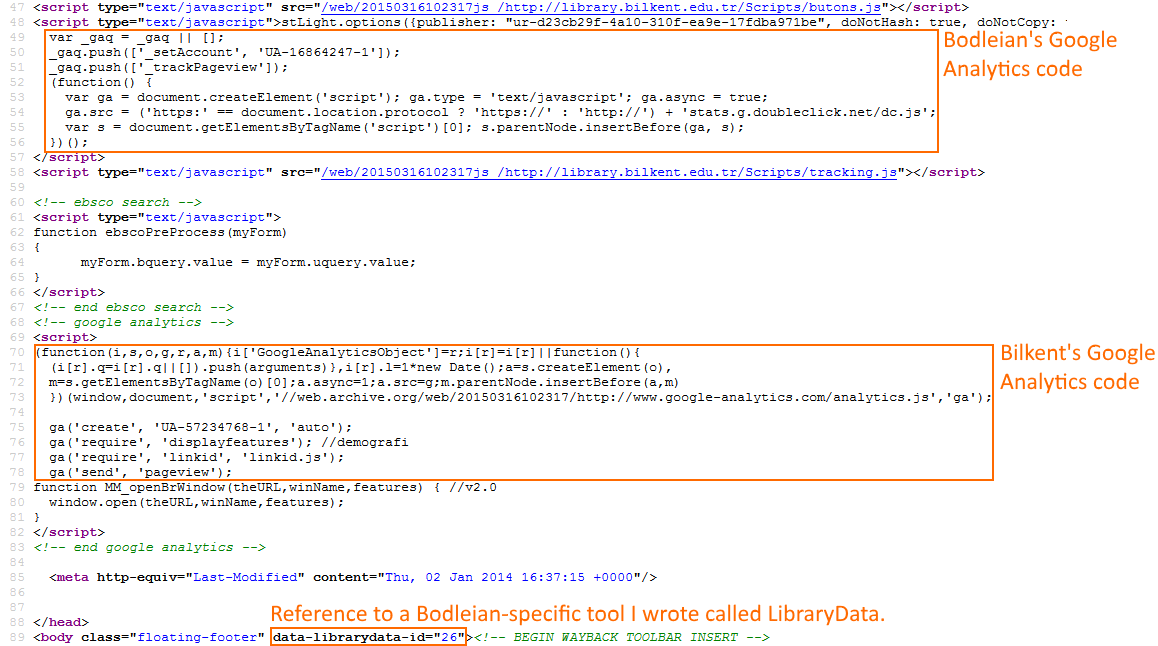 HTML source code from Bilkent University Library.
