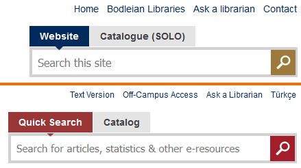 Bodleian and Bilkent search boxes, side-by-side.