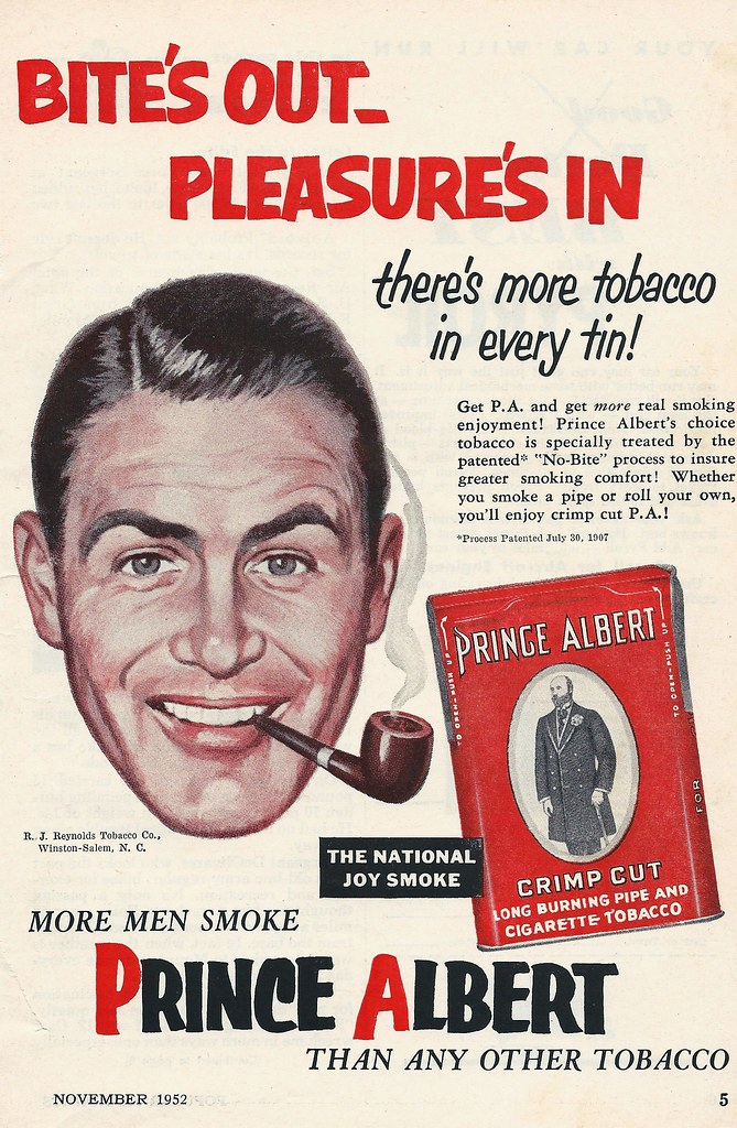 1952 advertisement for Prince Albert pipe tobacco.