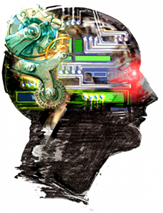 Artist's impression of a head filled with wires and circuitry.