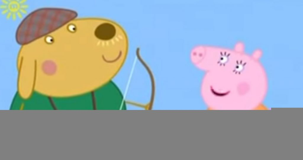 Mr. Labrador tells Mummy Pig that women are useless at archery.