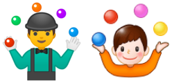 "Google and Samsung's emoji for ""juggling""."