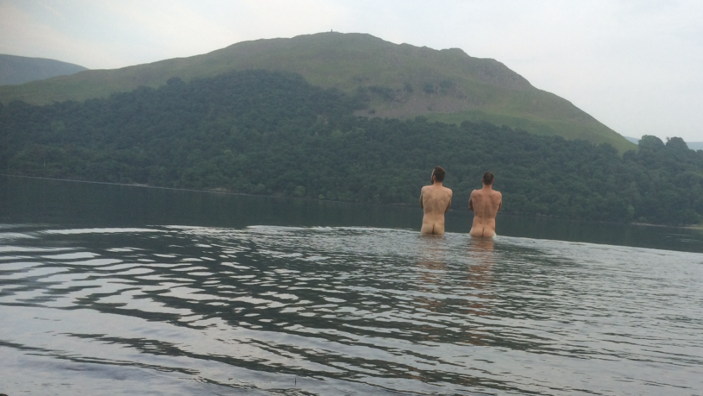 Naked in a lake