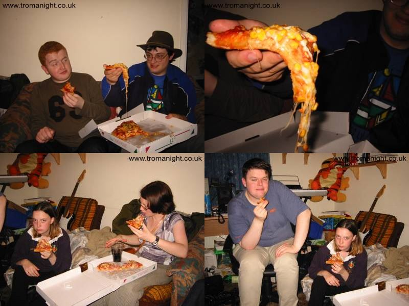 Bryn, Paul, Claire, Liz, and Kit enjoy Hollywood Pizza at Troma Night VI.5.