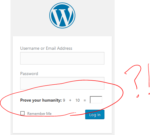 "WordPress/Jetpack's CAPTCHA, asking for the solution to ""9+10="""