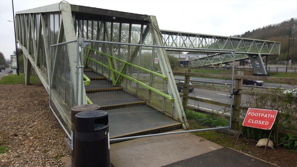 Motorways services bridge, closed-off.
