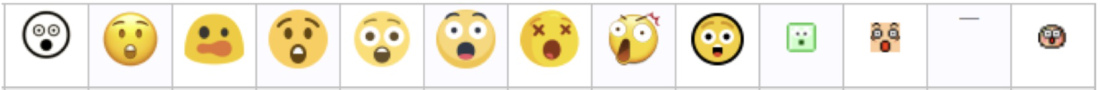 "A variety of emoji faces representing ""astonished face"""