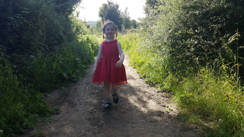 Annabel walking to the cache.