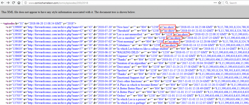 no-shows in the episode list produced by the web component of Comic Chameleon