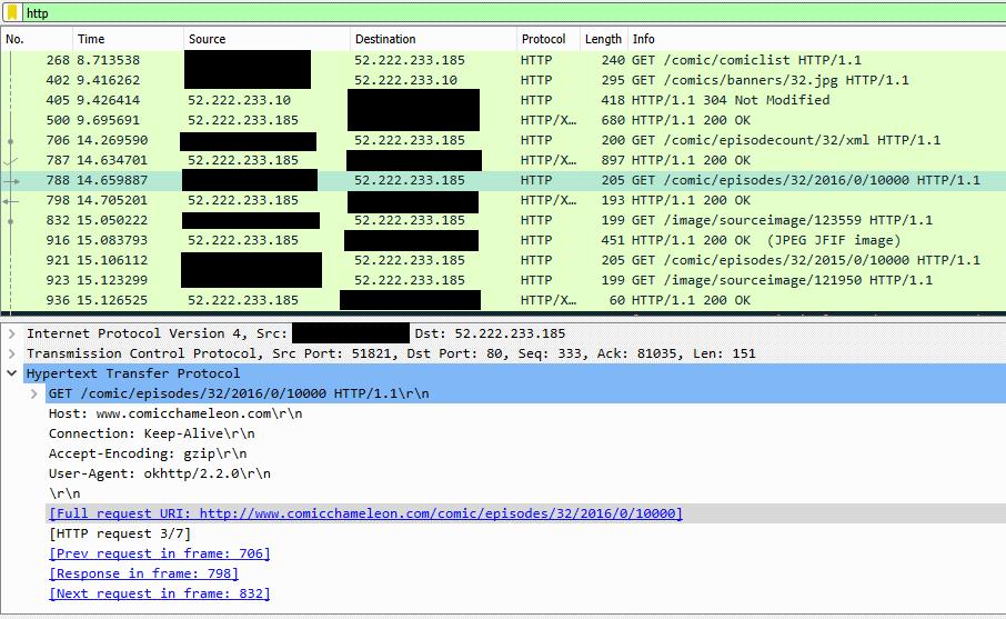 Wireshark output showing Comic Chameleon traffic.