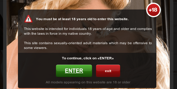 Website message asking visitor to confirm that they're old enough.