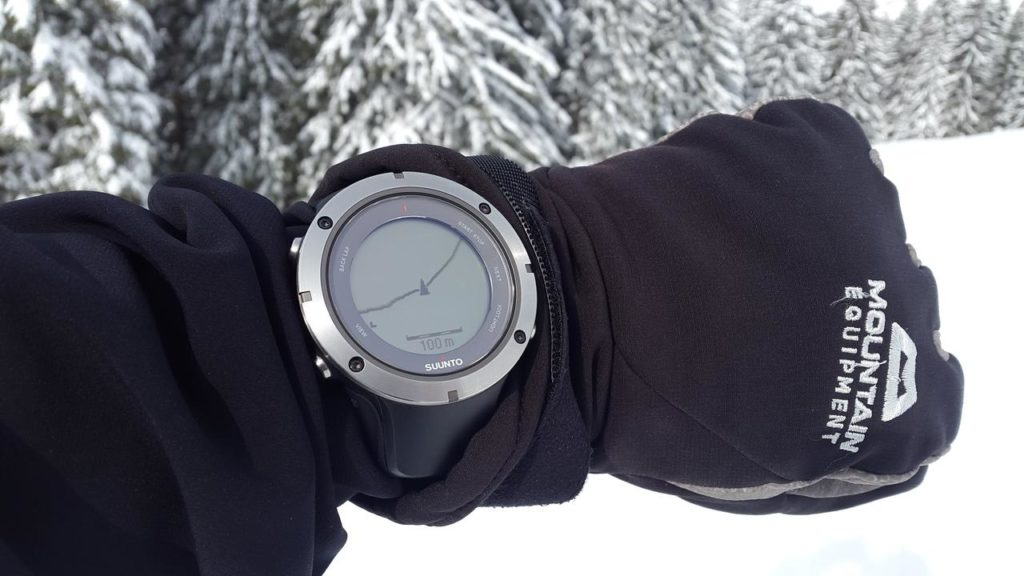 Wrist-mounted GPS in the snow.
