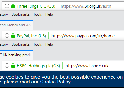 Firefox address bars showing EV certificates of Three Rings CIC (GB), PayPal, Inc. (US), and HSBC Holdings plc (GB)