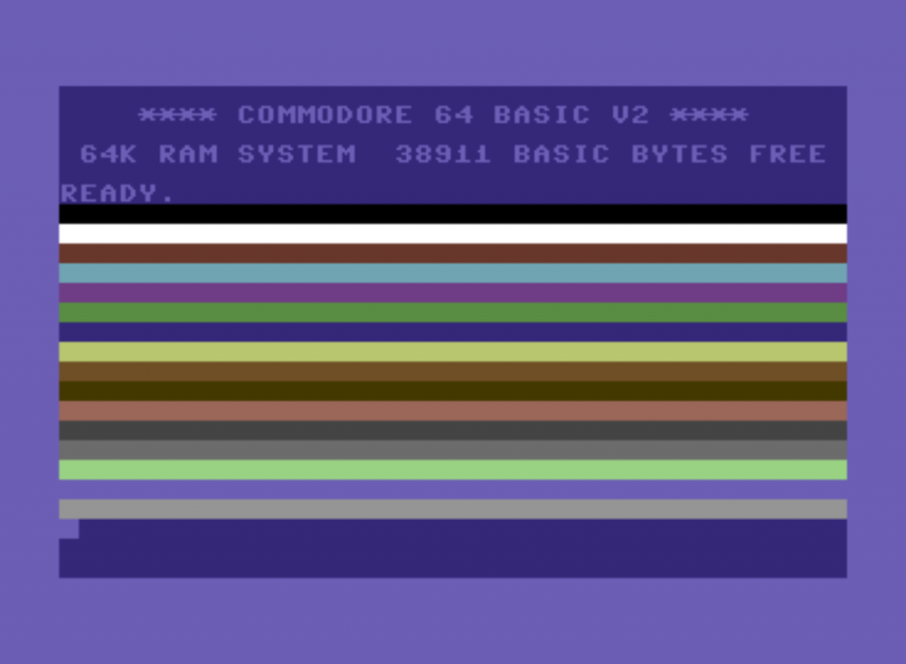 C64 showing coloured bars