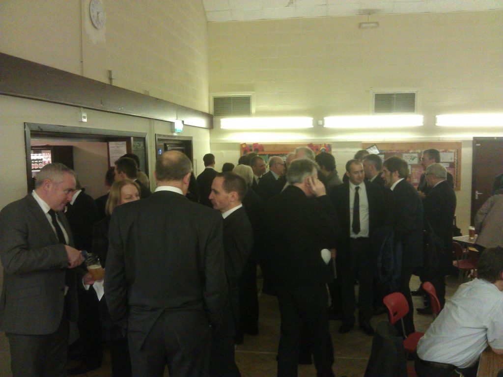 Public transport industry professionals at Peter Huntley's wake
