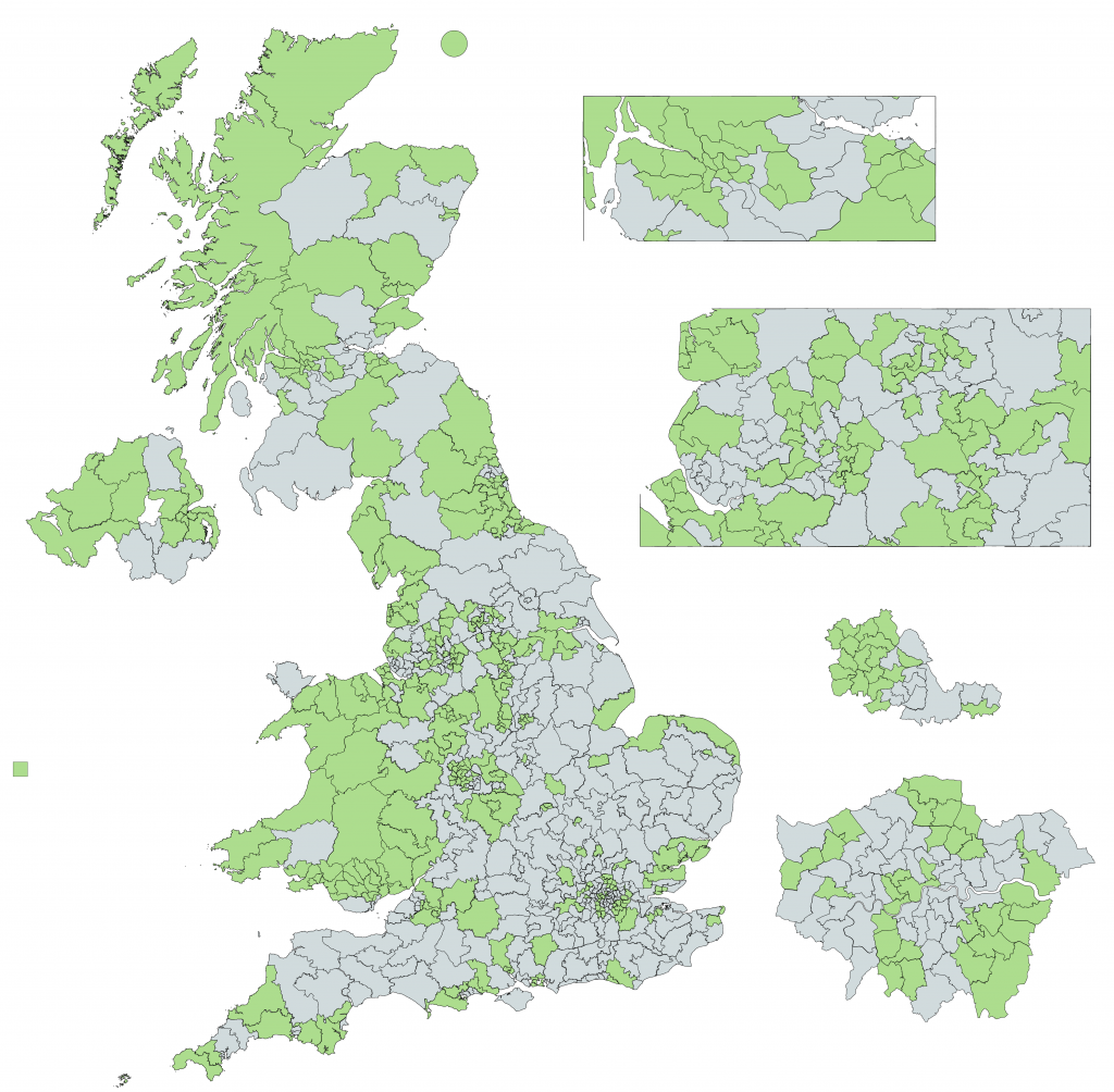 Map showing the 326 UK constituencies with the smallest electorate size