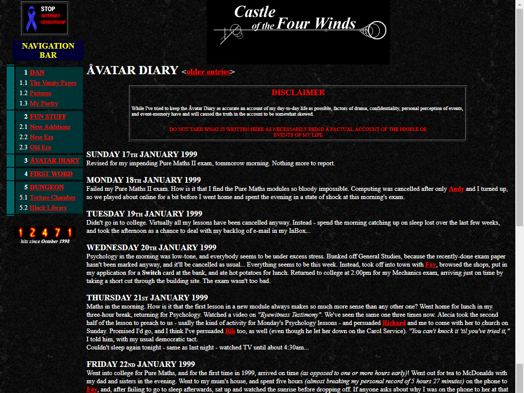 Castle of the Four Winds, launched in 1998, with a then-fashionable black background.