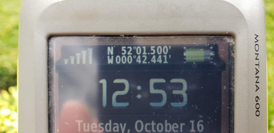 GPS showing time and coordinates