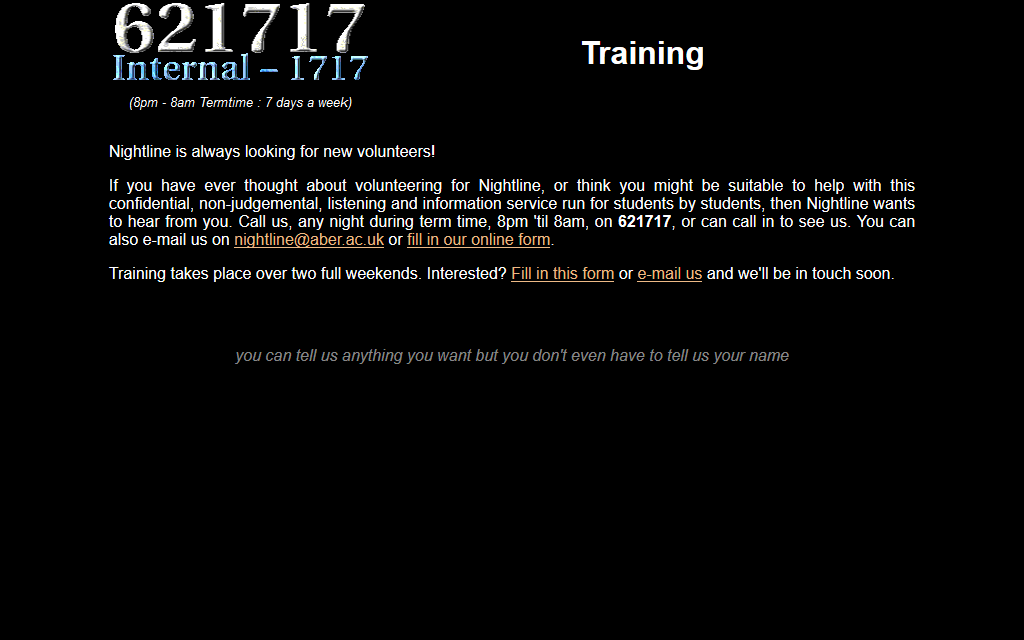 Training page from the Aberystwyth Nightline website, circa 2004