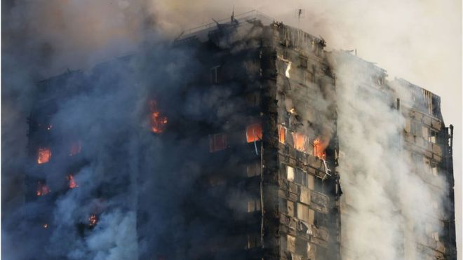 Grenfell tower ablaze