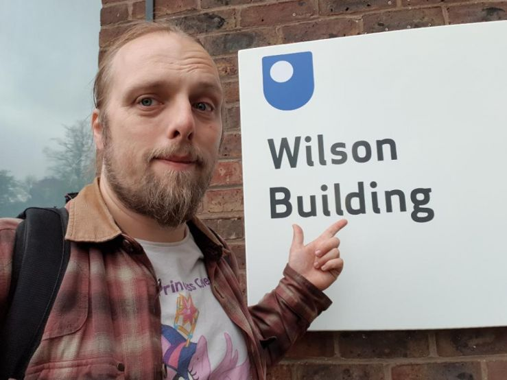 Dan outside the Wilson Building, Open University Campus, Milton Keynes