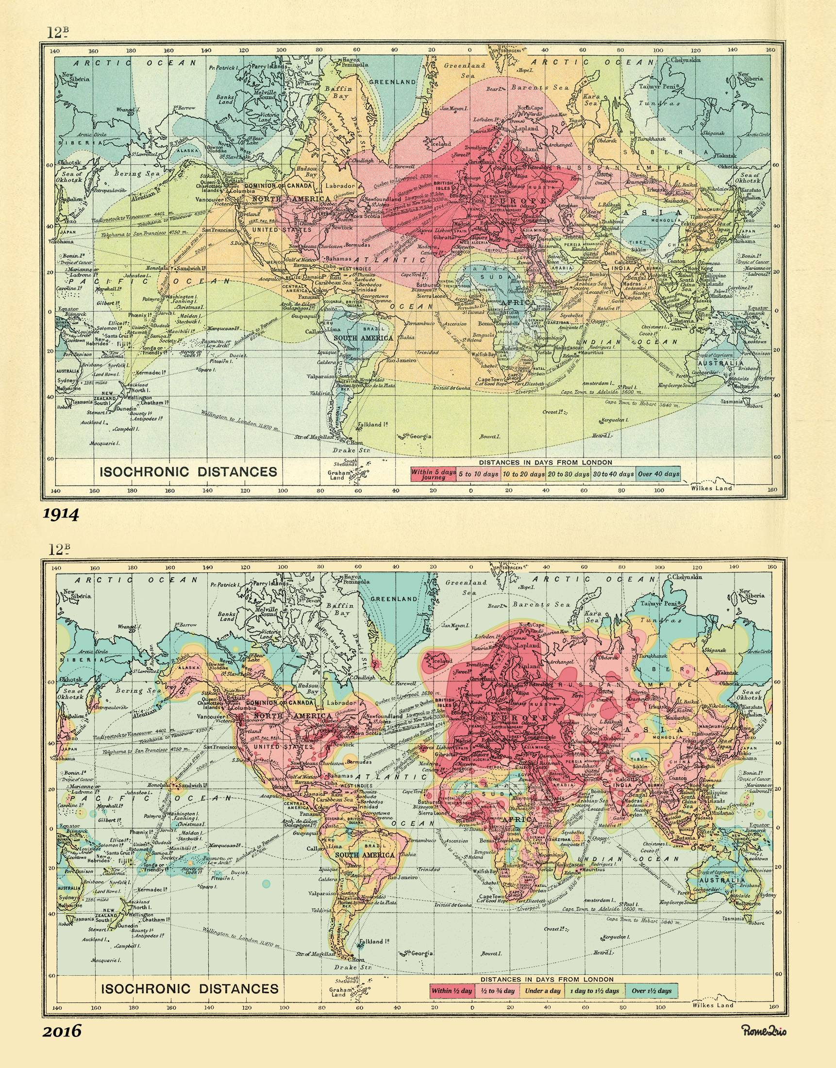 Isochronic map of world travel from London in 1914 and 2016.