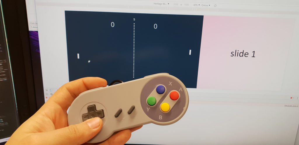 Pong prototype with a SNES controller on my work PC