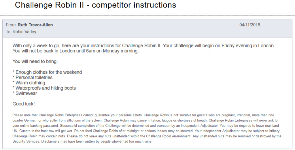 Ruth's email inviting Robin to Challenge Robin II