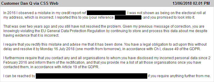 My message instructing Equifax to fix their damn data about me.
