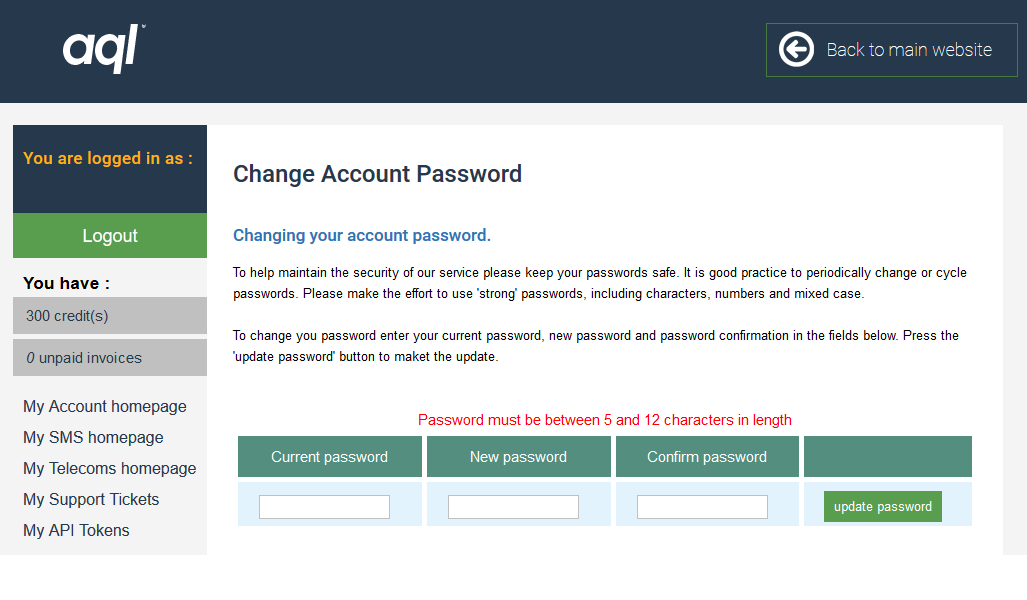"AQL advise that my password must be ""between 5 and 12 characters"". In 2018."