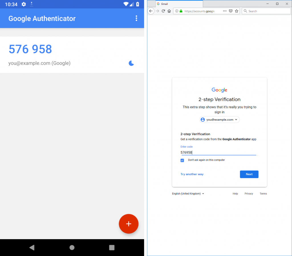 Two factor authentication using Google Authenticator (TOTP) to log in to a Google Account