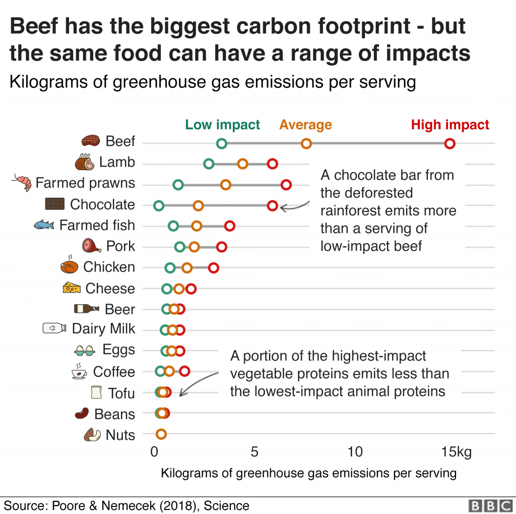 BBC graph showing climate impact of common foods. Beef is terrible *unshocker*.