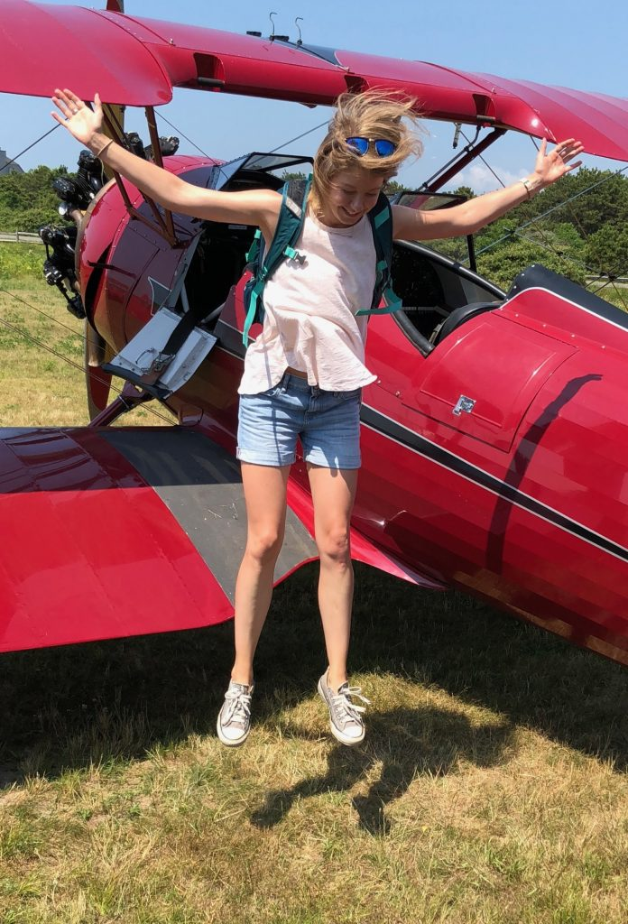 Representative study participant jumping from aircraft with an empty backpack. This individual did not incur death or major injury upon impact with the ground
