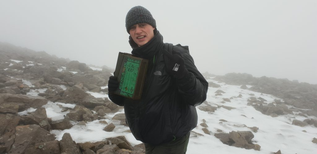 Robin with the GCG6XD, the Ben Nevis summit geocache