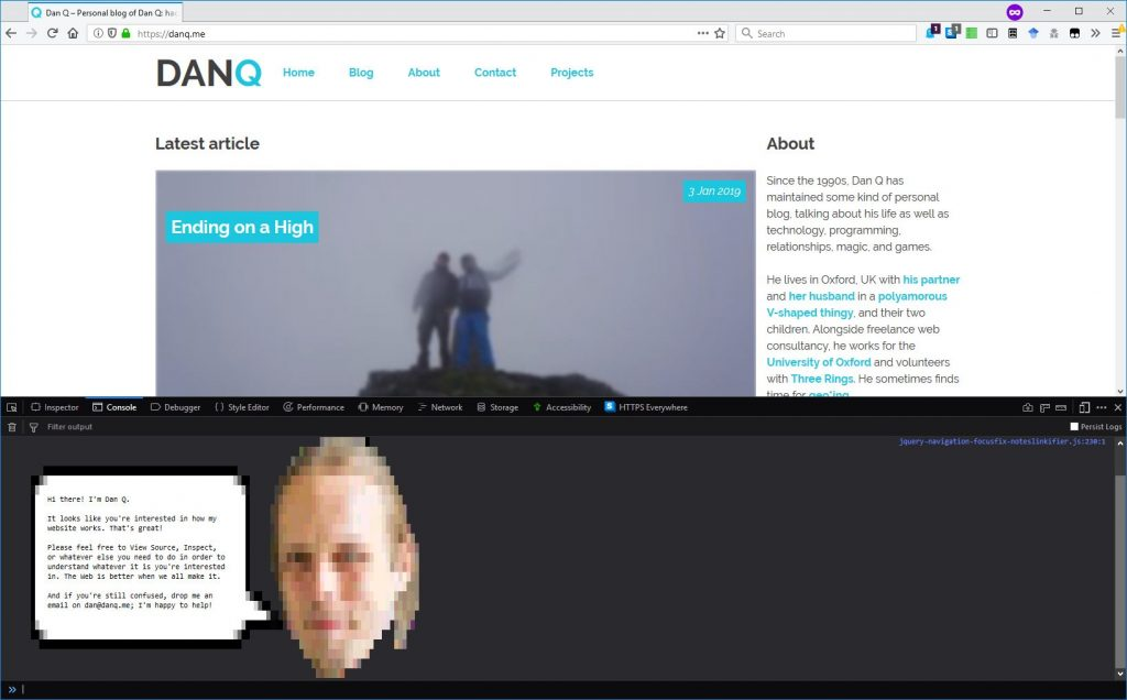 Debug console on DanQ.me showing Dan's head and a speech bubble.