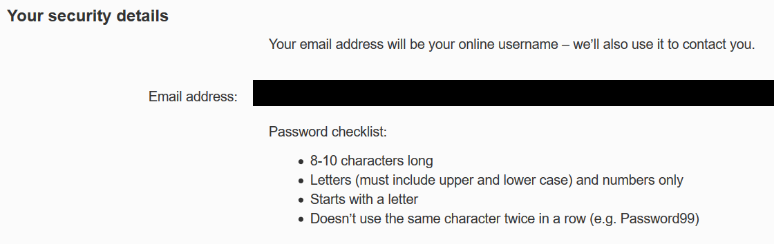 Virgin Media password form, requiring 8-10 characters