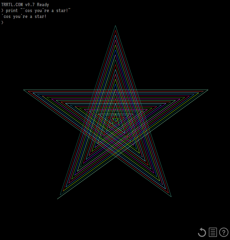 Concentric ringed rainbow star in TRRTL.COM.