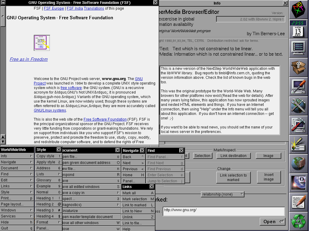 WorldWideWeb screenshot by Sir Tim Berners-Lee