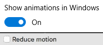 Motion-reducing controls in Windows 10 and MacOS X.