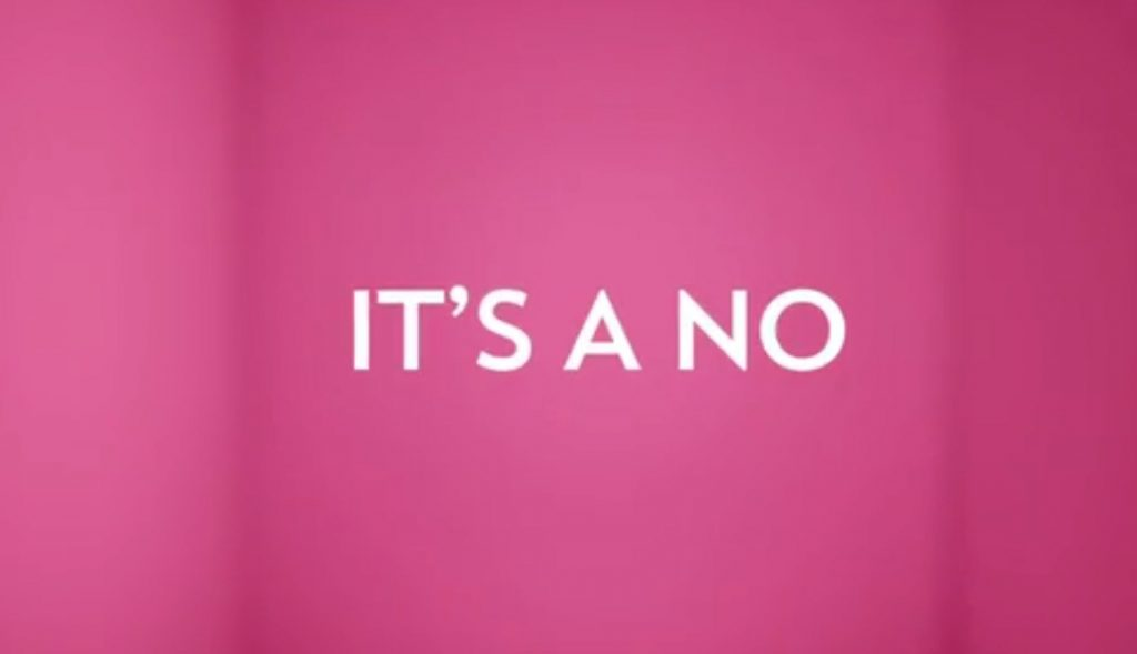 """It's a no"", from the advertisment."