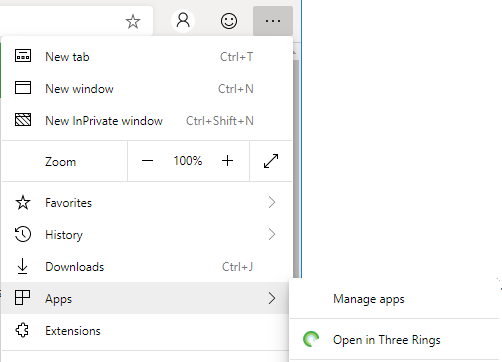 Edge provides an option to open a page in its sites' associated PWA, if installed.