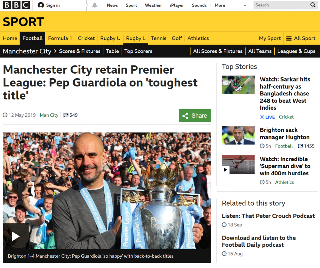 Sports on the BBC News site