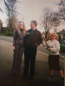 Dan's sisters with their Uncle David; Becky has Dan's new battle-axe