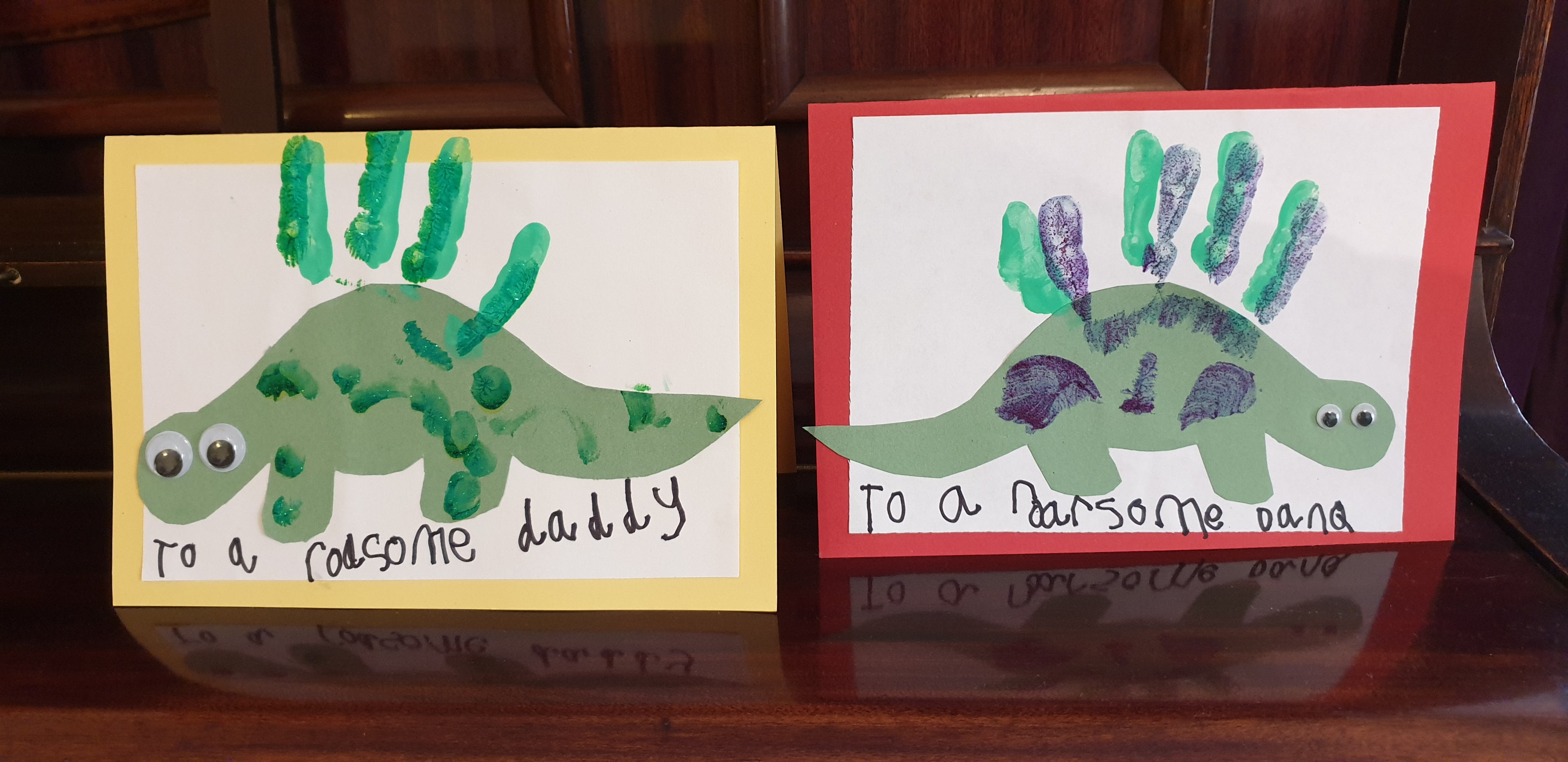 "Fathers' Day cards for JTA and Dan. ""To a roarsome daddy"" and ""to a roarsome Dan Q""."