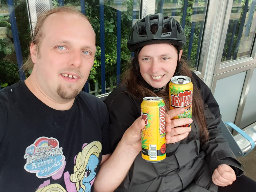 Dan and Ruth drink Desperados on Oxford Parkway Railway Station.