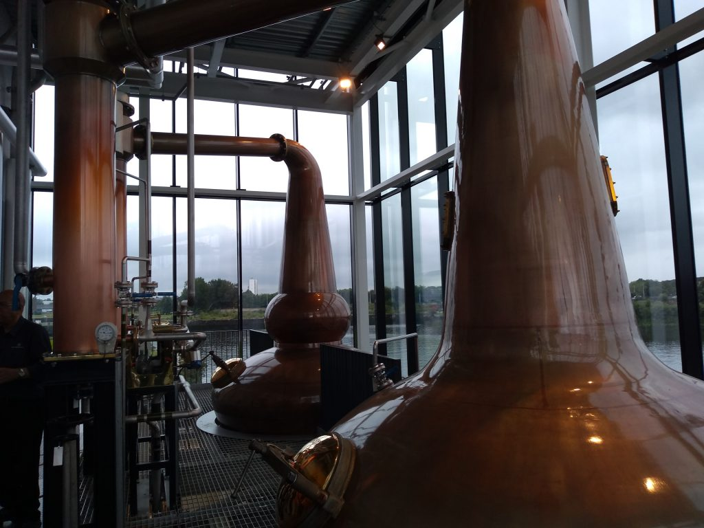 Copper stills of the Clydeside Distillery.