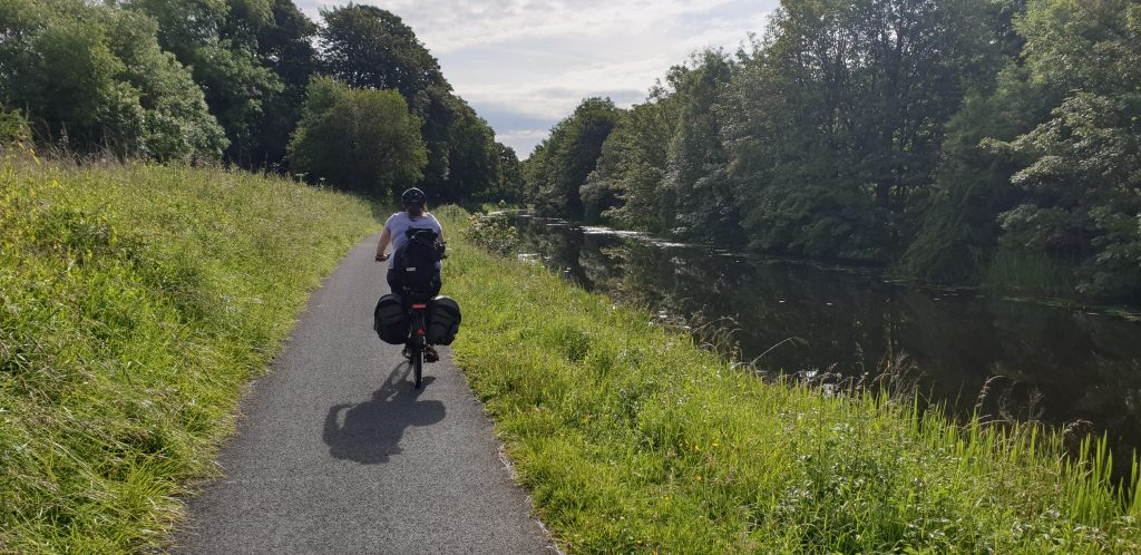 Ruth rides alongside the Forth & Clyde canal.
